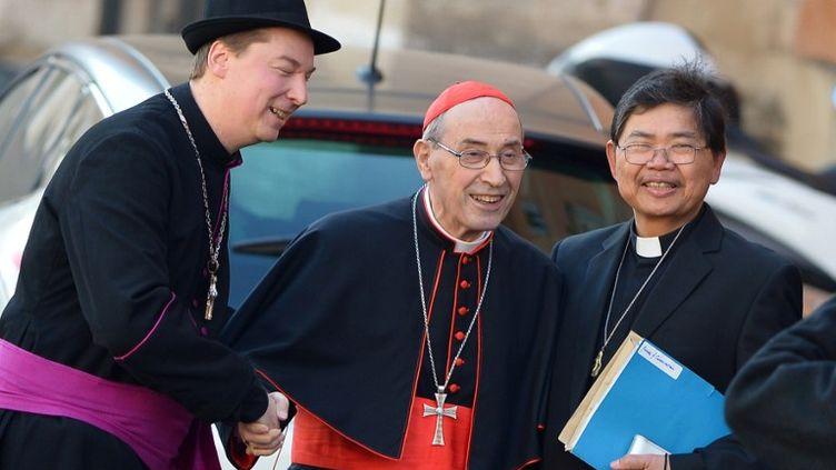 A gauche, Ralph Napierski,déguisé en évêque, lors d'une réunion de cardinaux au Vatican, le 4 mars 2013. (VINCENZO PINTO / AFP)