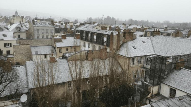 Des flocons de neige tombent dans lesud de la Seine-et-Marne, le 15 janvier 2016. (NICO)