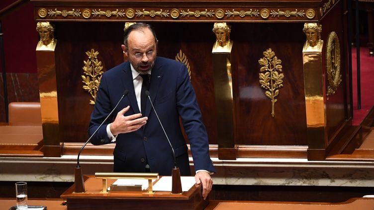 Le Premier ministre Edouard Philippe lors de son discours introductif au débat sans vote sur l'immigration, lundi 7 octobre 2019 à l'Assemblée nationale. (ALAIN JOCARD / AFP)