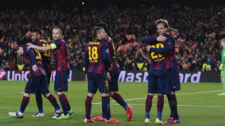 La joie des joueurs du FC Barcelone après l'ouverture du score contre Manchester City