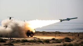 L'armée iranienne tire un missile Qader, le 2 janvier 2012 près du détroit d'Ormuz. (EBRAHIM NOROOZI / AFP)