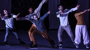 Les danseurs du Patin Libre en spectacle sur la patinoire Charlemagne, à Lyon, le 7 juin 2016  (STR / Jeff Pachoud / AFP)