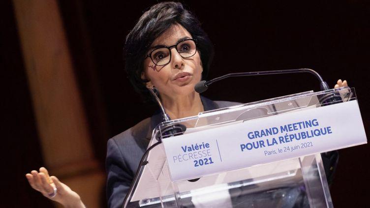 L'ancienne ministre de la Justice Rachida Dati, le 24 juin 2021 à Paris. (GEORGES GONON-GUILLERMAS / HANS LUCAS / AFP)