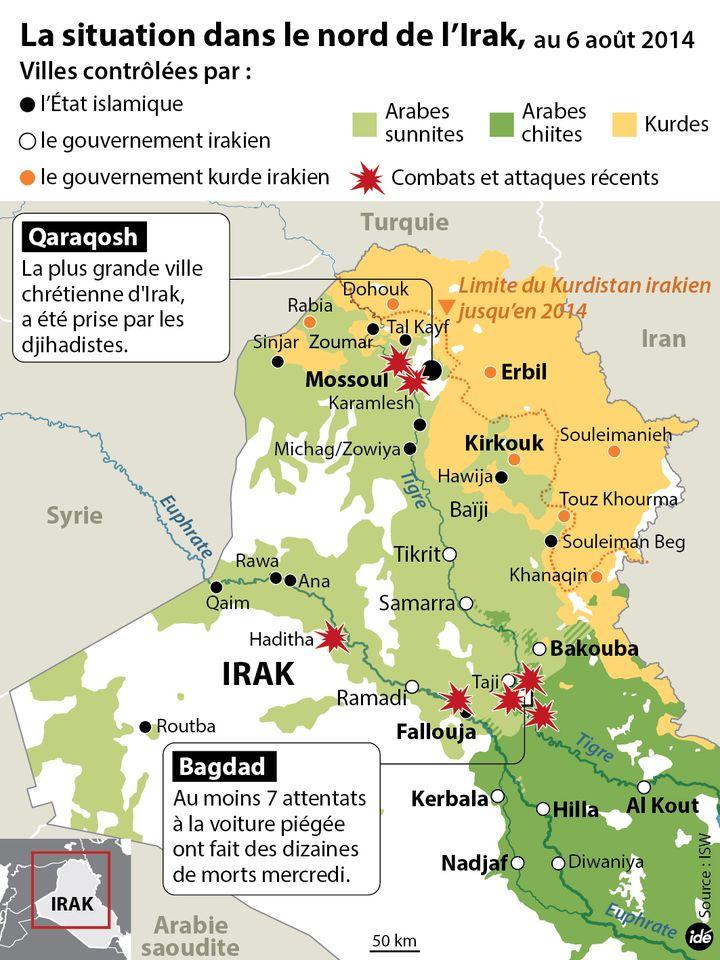(La situation dans le nord de l'Irak au 6 août 2014 © IDE)