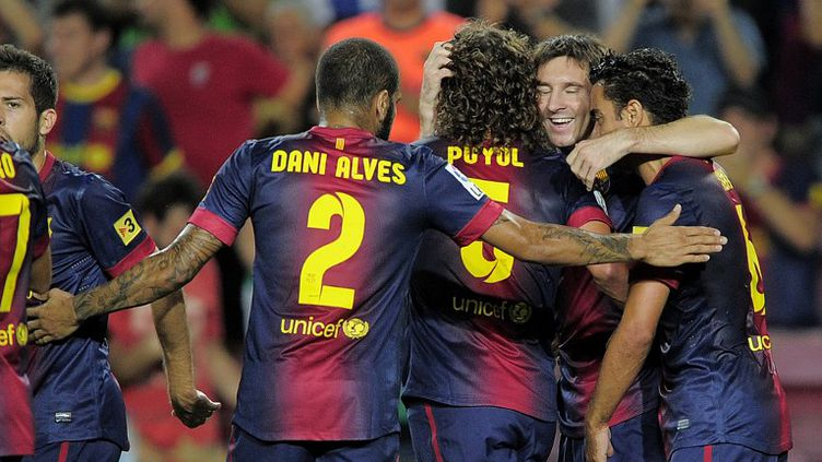 La joie barcelonaise après le 1er but de Messi (JOSEP LAGO / AFP)