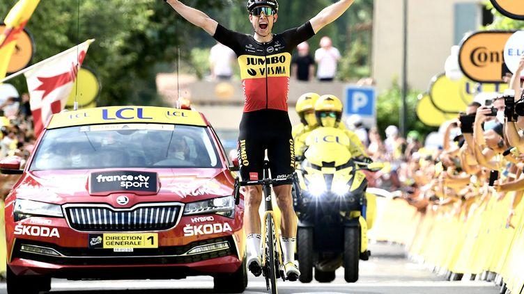 Wout van Aert (Jumbo Visma) a remporté la 11e étape du Tour de France 2021 après un numéro en solitaire dans le Mont Ventoux. (PHILIPPE LOPEZ / AFP)