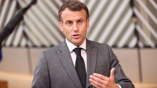 Le président français, Emmanuel Macron, lors d'un sommet européen à Bruxelles, le 24 juin 2021. (DURSUN AYDEMIR / ANADOLU AGENCY / AFP)