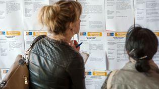 Une femme consulte des offres d'emploi dans une agence Pôle emploi de Lens. (illustration) (PHILIPPE HUGUEN / AFP)