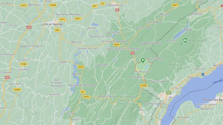 La station de ski des Rousses (Jura) se situe près de la frontière suisse. (CAPTURE D'ÉCRAN GOOGLE MAPS)