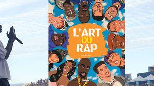 """Le rappeur MHD lors de l'edition 2017 du festival des Francofolies de La Rochelle et la couverture de l'ouvrage """"L'Art du Rap"""" de Jean-Eric Perrin. (SADAKA EDMOND/SIPA et EDITIONS PALETTE)"""
