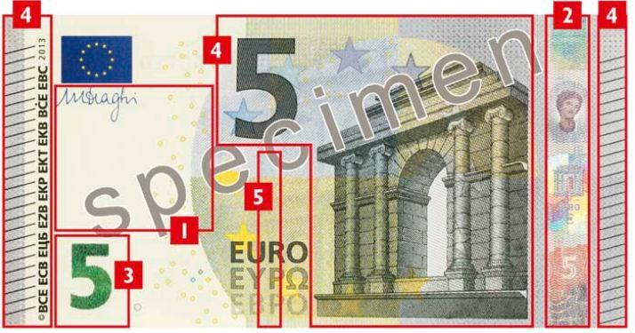 Les nouveaux billets en euros, dévoilés par la BCE le 10 janvier 2013, intègrent des nouveaux signes de sécurité. (BCE.INT / FRANCETV INFO)