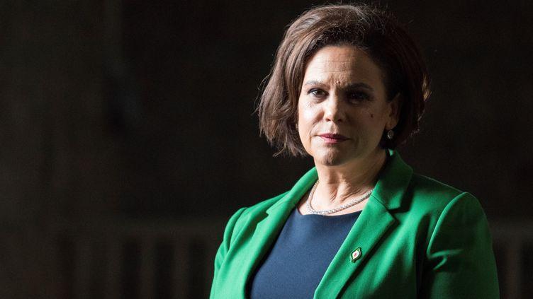 La présidente du Sinn Fein,Mary Lou McDonald, lors d'une réunion de son parti le 10 février 2018. (BARRY CRONIN / AFP)