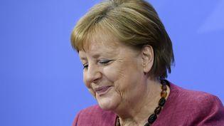 La chancelière allemande, Angela Merkel, à la Chancellerie à Berlin, le 27 mai 2021. (ANNEGRET HILSE / AFP)