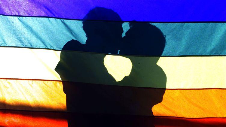 Deux hommes s'embrassent derrière un drapeau arc-en-ciel pendant une manifestation pour les droits des homosexuels, à Rio de Janeiro (Brésil), le 3 août2003. (BRUNO DOMINGOS / REUTERS)