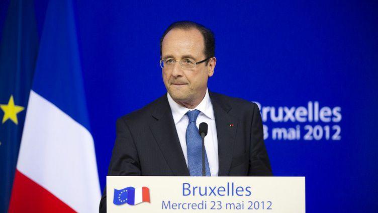 François Hollande, le président français, le 23 mai 2012 à Bruxelles (Belgique), lors d'un sommet européen informel. (LIONEL BONAVENTURE / AFP)