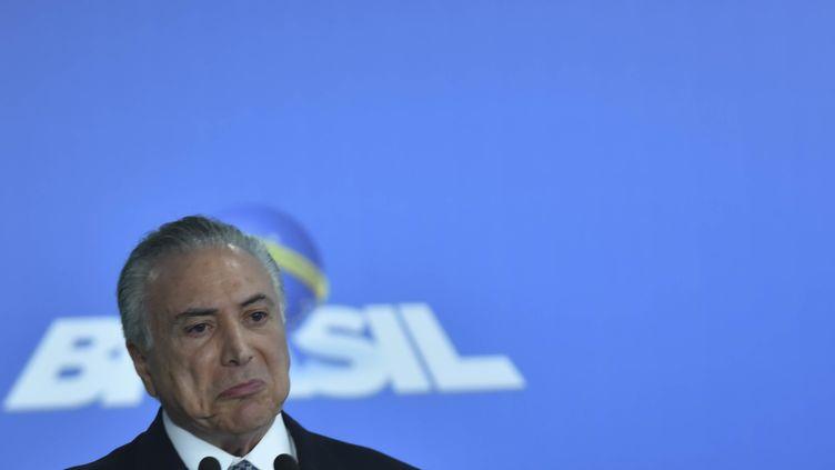 Michel Temer délivre un discours au palais présidentiel du Planalto, à Brasilia (Brésil), le 8 juin 2016. (RICARDO BOTELHO / BRAZIL PHOTO PRESS / AFP)