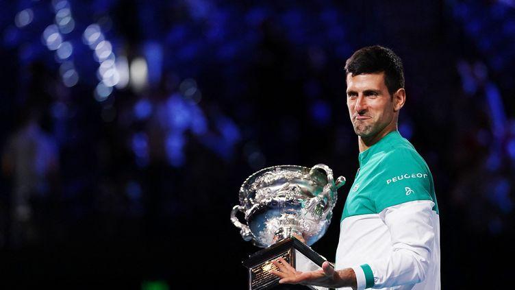 Novak Djokovic après son sacre à l'Open d'Australie, le 21 février 2021. (MICHAEL DODGE / TENNIS AUSTRALIA)