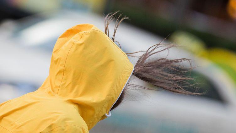 Une femme dans une tempête à Cologne (Allemagne), le 18 janvier 2018. (ROLF VENNENBERND / DPA / AFP)
