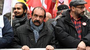 Philippe Martinez, le leader de la CGT, dans le cortège parisien du 9 janvier contre la réforme des retraites. (BERTRAND GUAY / AFP)