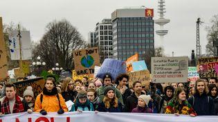 Une manifestation pour lutter contre le réchauffement climatique, le 1er mars 2019 à Hambourg (Allemagne). (AXEL HEIMKEN / AFP)
