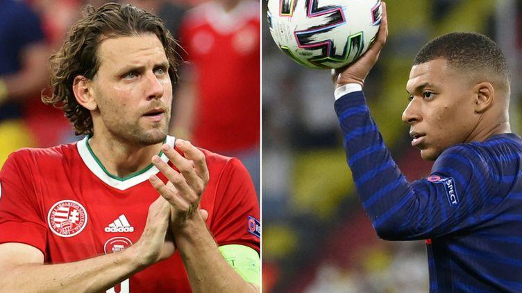 L'attaquant hongrois Adam Szalai et l'attaquant français Kylian Mbappé. (BERNADETT SZABO / AFP)
