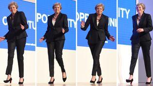 Montage de photos montrant le pas de danse deTheresa May lors du Congrès du parti conservateur, le 3 octobre 2018, àBirmingham au Royaume-Uni. (OLI SCARFF / AFP)