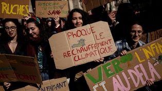 Une jeune fille avec une pancarte pendant la marche pour le climat, le 22 février 2019, à Paris. (LIONEL BONAVENTURE / AFP)