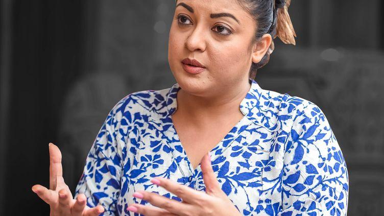L'actrice indienne Tanushree Dutta, le 27 septembre 2018, à Mumbai (Inde), lors d'une conférence de presse. (PRATHAMESH BANDEKAR / THE TIMES OF INDIA / AFP)