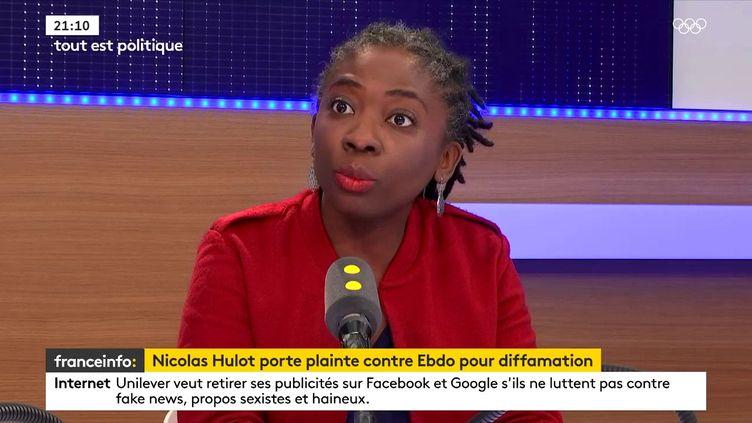 """Danièle Obono, députée La France Insoumise de Paris, était l'invitée de """"Tout est politique"""" lundi 12 février sur franceinfo. (FRANCEINFO)"""