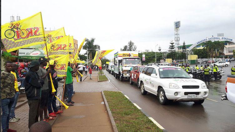 Le départ du Tour du Rwanda cycliste donné le 24 février 2019 à Kigali. (JEROME VAL / RADIO FRANCE)