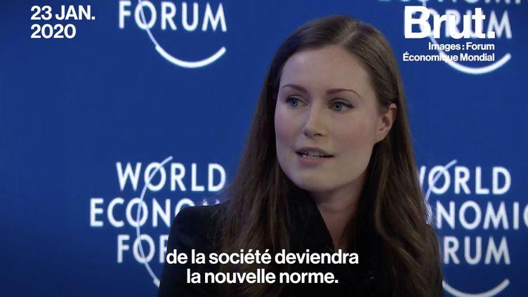 VIDÉO : Davos : Quand Sanna Marin parle de son gouvernement composé de femmes (BRUT)