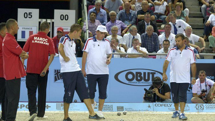 Le championnat du monde de pétanque au Palais des sports de Marseille le 6 octobre 2012. Match de quart de finale entre la France et le Maroc. (MAXPPP)