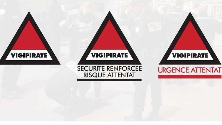 """Signalétique des trois niveaux du plan Vigipirate, dont le dernier, """"urgence attentat"""", a été mis en place depuis la fin 2016. (GOUVERNEMENT)"""