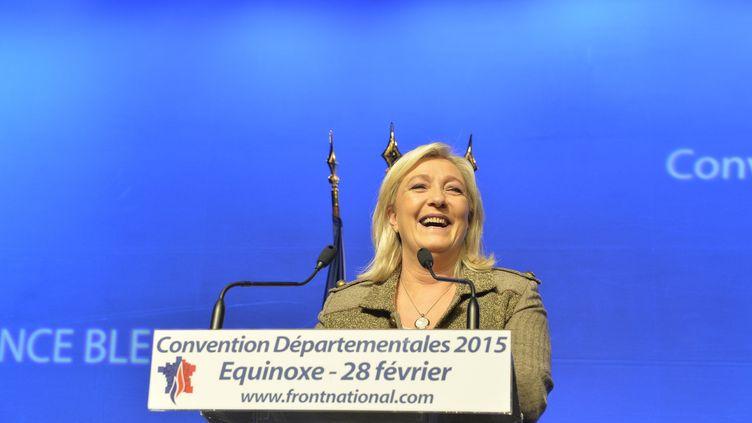 La présidente du FN Marine Le Pen, le 28 février 2015 à Paris. (FRANCOIS PAULETTO / CITIZENSIDE.COM / AFP)