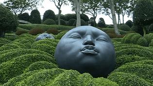 Les drôles de têtes de l'artiste espagnol Samuel Salceco, posées dans les Jardins d'Etretat.  (Culturebox - capture d'écran)