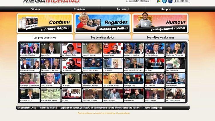 Capture d'écran du site MegaMorano.com, le 24 janvier 2012. (FTVi)