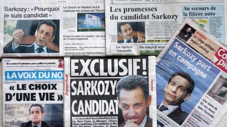 La candidature de Sarkozy fait la Une de tous les journaux au lendemain de son annonce officielle (AFP)