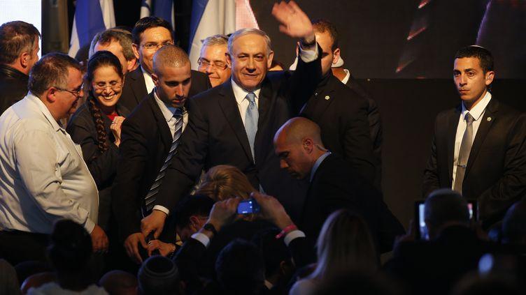 Le Premier ministre sortant, Benyamin Nétanyahou, le 17 mars 2015, à Tel-Aviv (Israël). (JACK GUEZ / AFP)