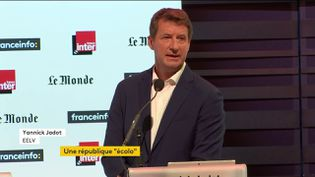 Yannick Jadot lors du premier débat de la primaire écologique, dimanche 5 septembre. (FRANCE INFO)