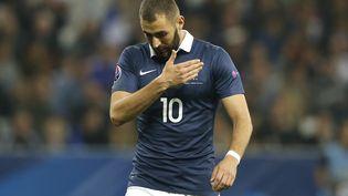 L'attaquant Karim Benzema, le 8 octobre 2015 à Nice (Alpes-Maritimes), pour sa dernière apparition enéquipe de France. (VALERY HACHE / AFP)
