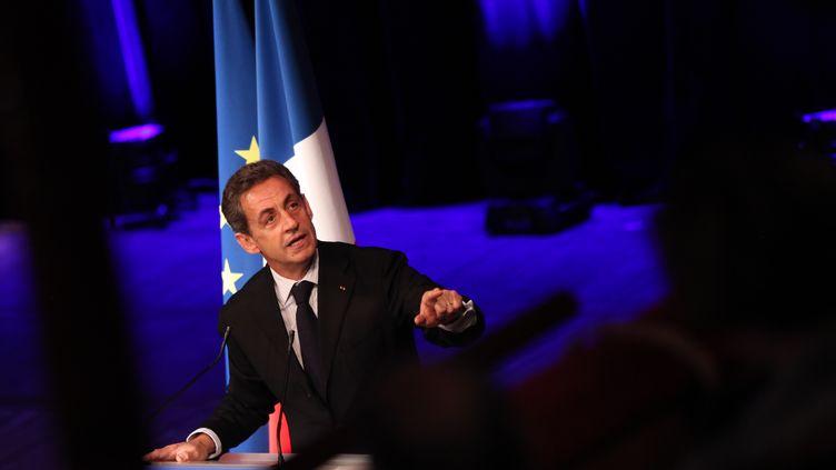 Le président de l'UMP, Nicolas Sarkozy, tient un discours lors d'un meeting à Tourcoing (Nord), le 29 janvier 2015. (THIERRY THOREL / CITIZENSIDE / AFP)