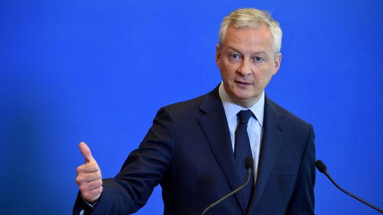 Le ministre de l'Economie, Bruno Le Maire, lors d'une conférence de presse, à Paris, le 1er juin 2021. (ERIC PIERMONT / AFP)