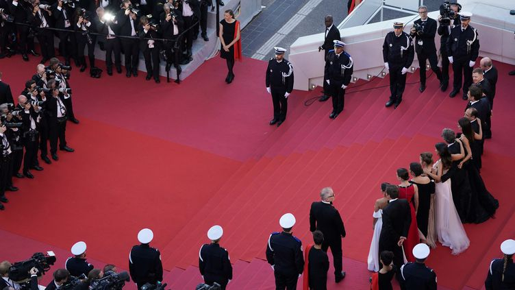 Montée des marches pour la cérémonie d'ouverture du Festival de Cannes, le 8 mai 2018  (LAURENT EMMANUEL / AFP)