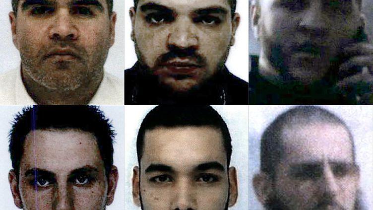 Sixdes onze Français condamnés à mort en Irak :Salim Machou, Mustapha Merzoughi, Brahim Nejara, Kevin Gonot, Yassine Sakkam and Leonard Lopez (en partant d'en haut à gauche jusqu'en bas à droite). (- / AFP)