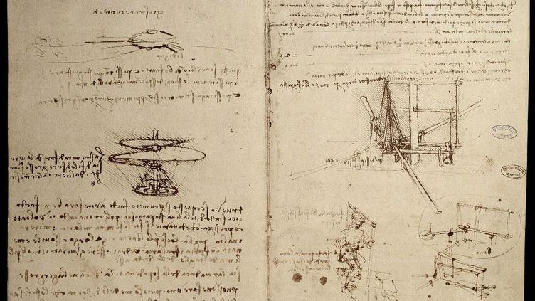 Manuscrit sur les machines volantes avec une representation a gauche de la vis aerienne, ancetre de l'helicoptere - Carnet de Leonard de Vinci (1452-1519), Vers 1487 - Paris, Bibliotheque de l'Institut de France. (PHOTO JOSSE)