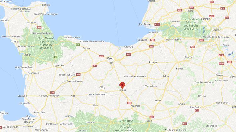 Capture d'écran de Google Maps pointant la ville de Falaise (Calvados) où quatre personnes ont été verbalisées après avoir assisté à un enterrement, le 19 mars 2020. (GOOGLEMAPS)