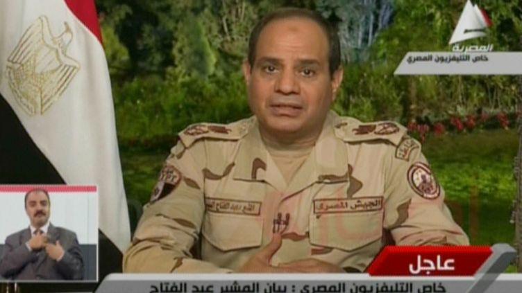 Le maréchal Al-Sissi annonce sa candidature à l'élection présidentielle dans une allution à la télévision égyptienne, mercredi 26 mars 2014. (EGYPTIAN AL-MASRIYA TV / AFP)