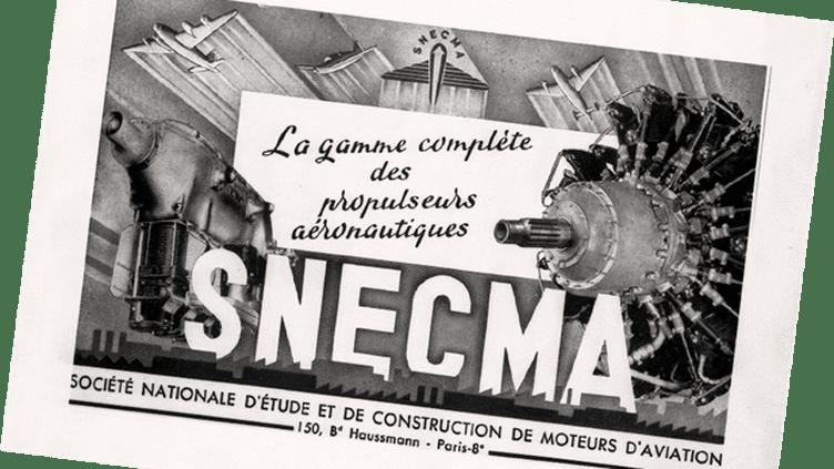 En 1945, la société Gnome & Rhône est nationalisée. Elle intègre la plupart des motoristes français nés au début du siècle (Renault, Lorraine, Régnier…) et prend le nom de Société Nationale d'Etude et de Construction de Moteurs d'Aviation (SNECMA). (Musée Safran)