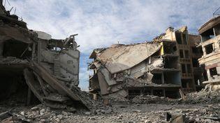 Les décombres de Hamouria, l'une des villes de l'enclave rebelle de la Ghouta (Syrie), le 13 mars 2018. (ABDULMONAM EASSA / AFP)