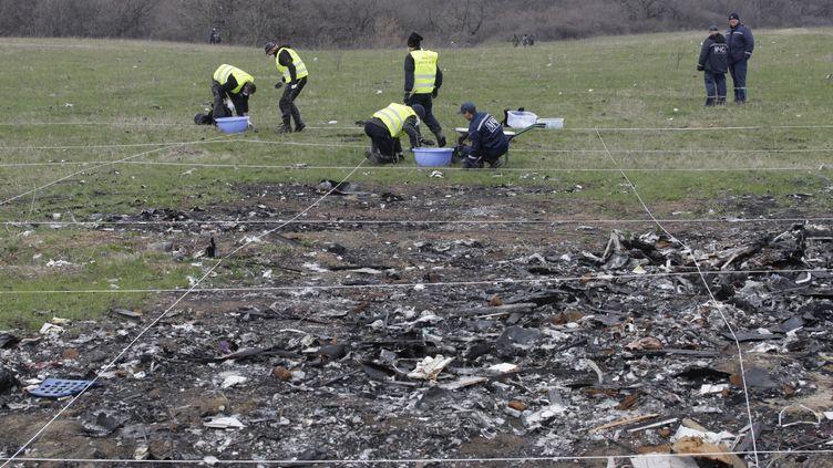 La zone du crash du vol MH17, en Ukraine, est inspectée, le 16 avril 2015. (ALEXANDER ERMOCHENKO / ANADOLU AGENCY / AFP)
